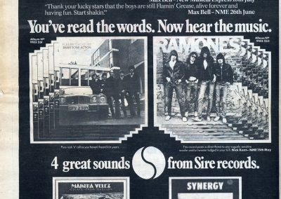 1976 New Musical Express – Uk – Ramones Sire Phonogram