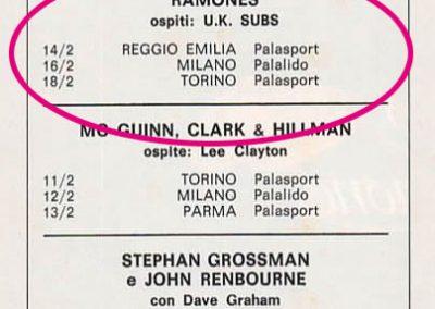1980 Ciao 2001 – Ita – Tour Ramones