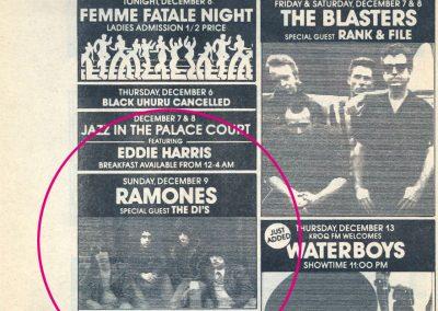 1984 L. A. Weekly – Usa – Ramones Live Al Palace