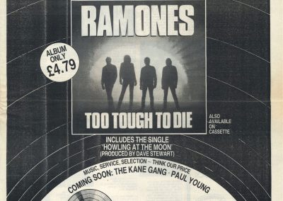 1985 Sound – Uk – Ramones Too Tough To Die