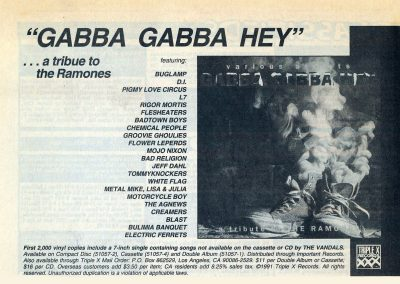 1991 Flipside – usa – Gabba Gabba Hey A Tribute To The Ramones