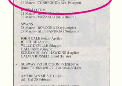 1992 Buscadero – Ita – Ramones Tour Italiano