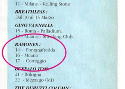 1992 Velvet – Ita – Tour Ramones