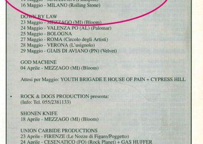 1993 Buscadero – Ita – Ramones Tour Italiano