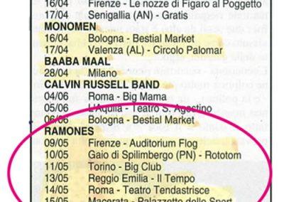 1993 Rockerilla – Ita – Ramones Tour Italiano