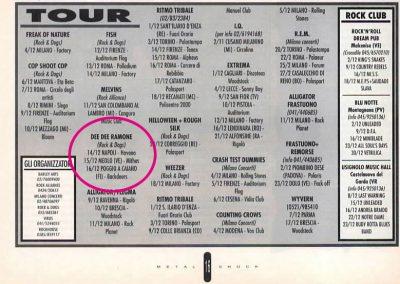 1994 Metal Shock – Ita – Tour Dee Dee Ramone