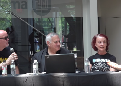 Punk magazine discussion, with (from left) John Holmstrom, Marc H. Miller, Roberta Bayley, and Chris Stein